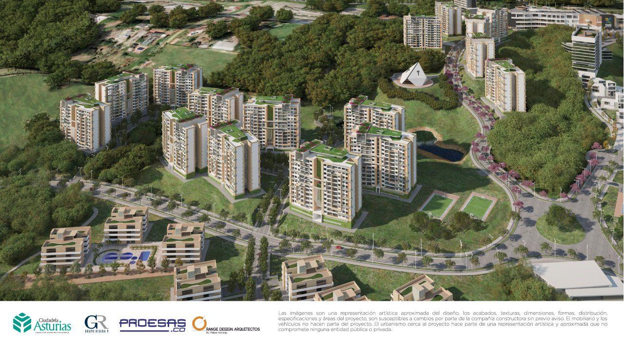 Representación aproximada del diseño urbanístico Ciudadela Asturias